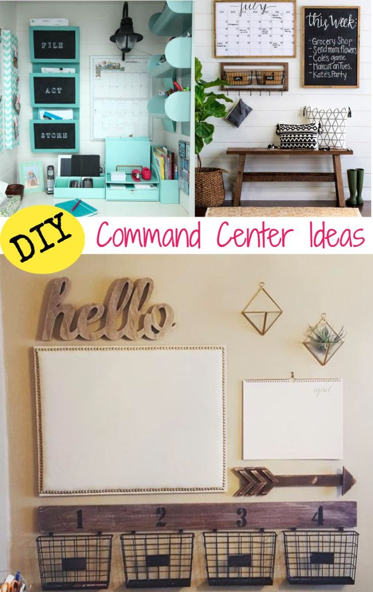 Command Center DIY ideas - make a fmaily command center with these DIY ideas and tips. Lots of family command center pictures and inspiration to declutter and organize your family's schedule
