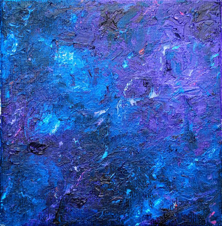 Original Abstract Expressionism Oil Painting, Small Contemporary 4 x 4 Textured Canvas, Modern Blue and Purple Tiny Desk Art by Joanna Frick by FrickCreationsStudio on Etsy