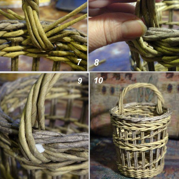Интерьерная мини-корзинка плетеная из бумаги
