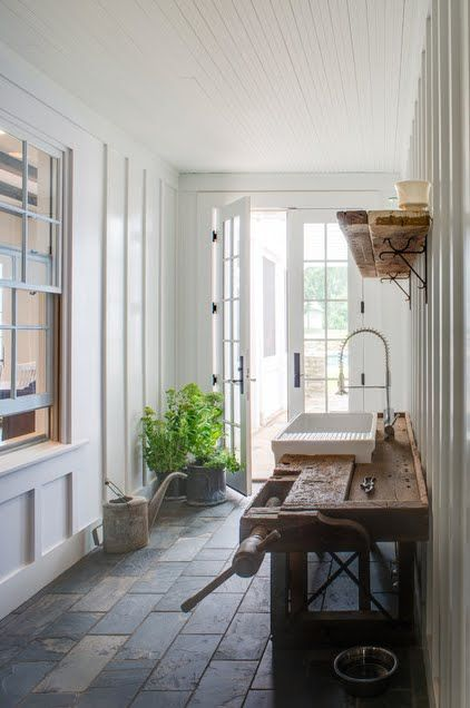 What Do You With Internal Windows? Window looking into a mudroom - love the slate floor!