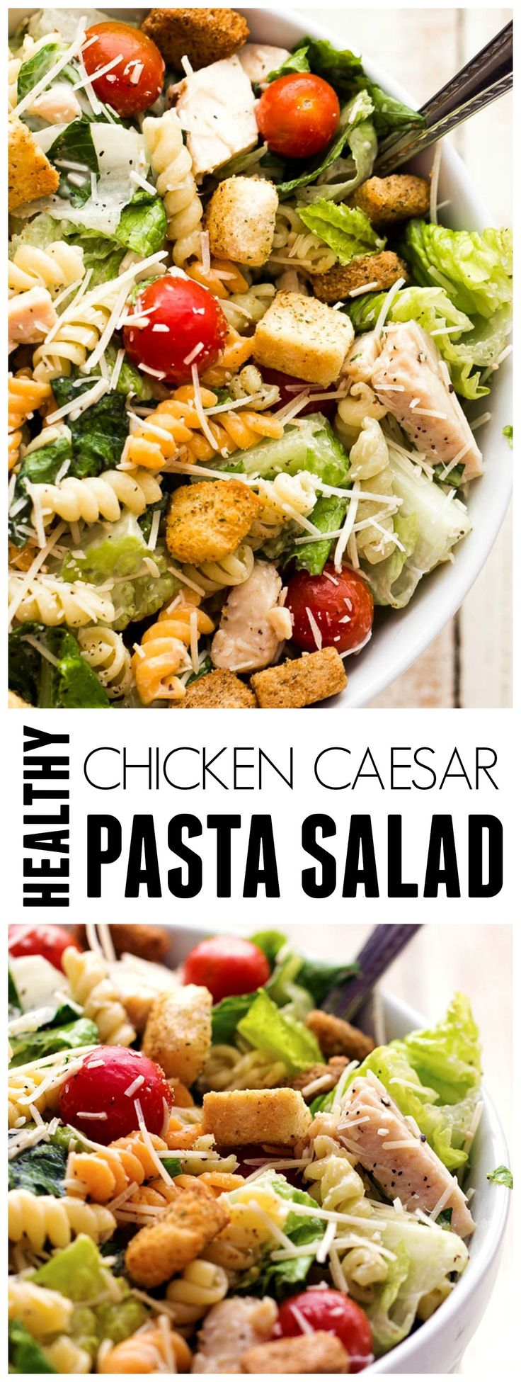 This Chicken Caesar Salad is made with healthier ingredients and a vegetable enriched pasta adds an amazing and delicious texture!