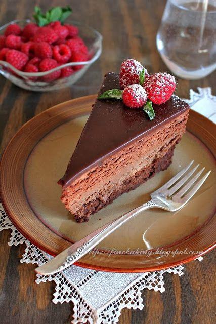 Chocolate dust: Quadruple Chocolate Mousse Cheesecake Cake - flourless cake, cheese cake, mousse, and ganache - Happy Birthday Cake to ME!!!