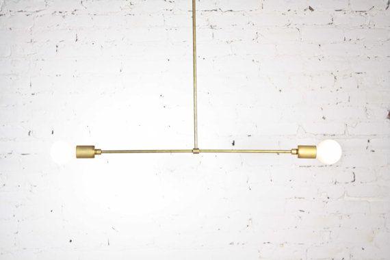 Perchoir - Mid century modern pendentif Lampe Lustre / inachevé en laiton massif