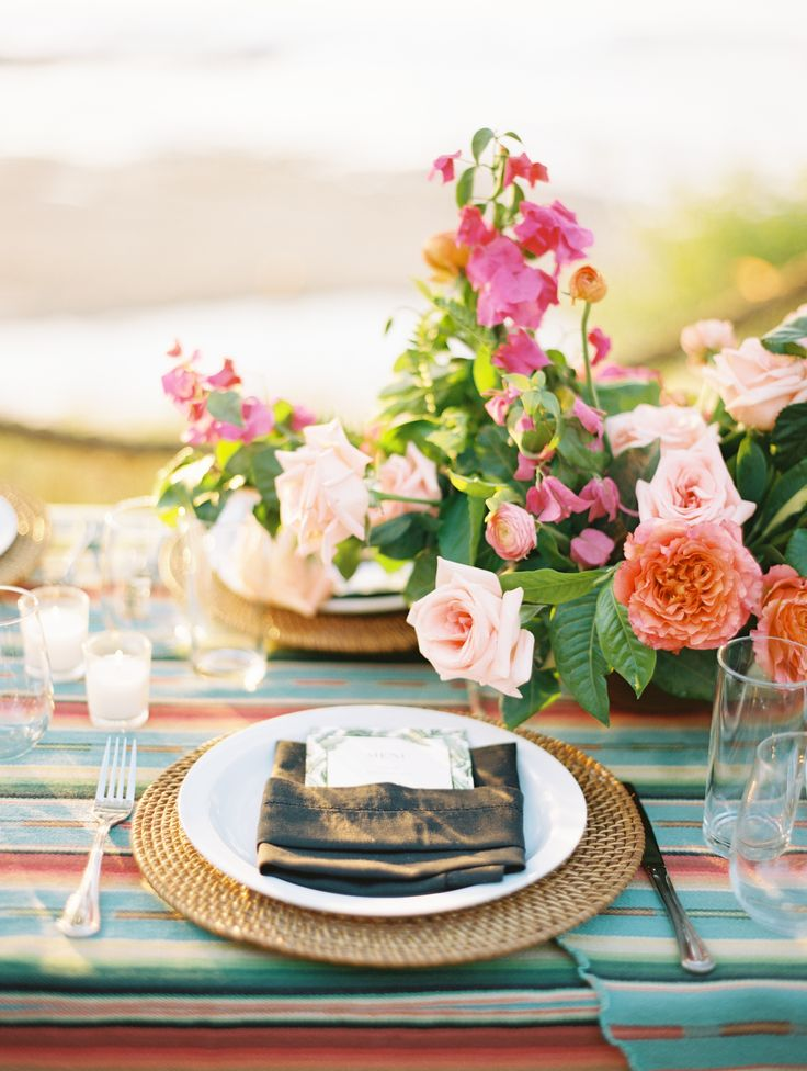 La Tavola Fine Linen Rental: Rio Grande Turquoise with Hemstitch Black Napkins | Photography: Brumley & Wells, Wedding Planning: We Tie The Knots, Floral Design: Siloh Floral Artistry, Venue: The Inn at Rancho Santana