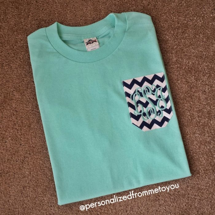 Swooning over this Mint Monogrammed Pocket Tee!