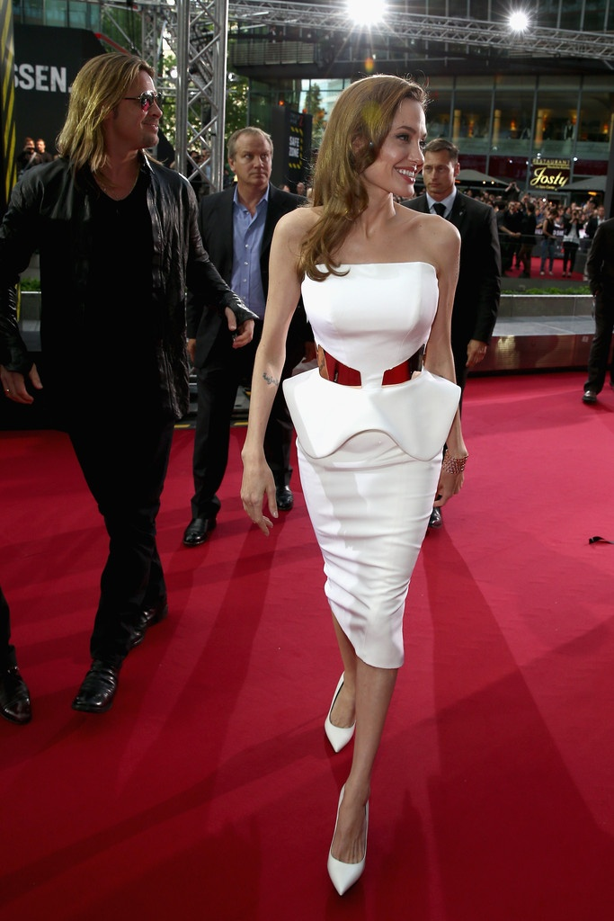 Angelina's peplum! Gorgeous! Very similar to one of our wedding dress designs too...  http://www.embracemode.nl