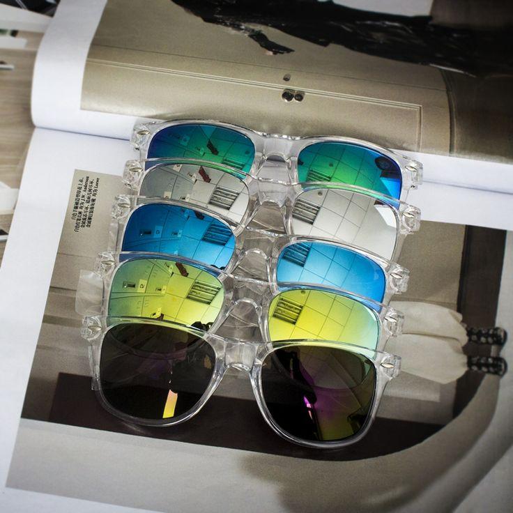 Солнцезащитные прозрачные очки-вайфареры с зеркальной линзой (в наличии фиолетовое зеркало) - 17874