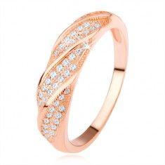 Gyűrű 925 ezüstből, réz szín, ferde átlátszó cirkóniákból álló vonal