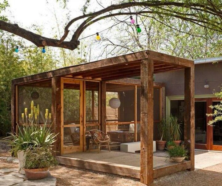 Ingenious Semi-free-standing Porch. Could Easily Create A
