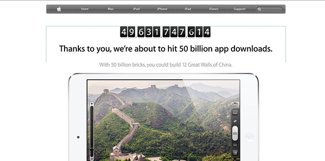 Apple pushes App Store promotion as 50 billionth download mark approaches