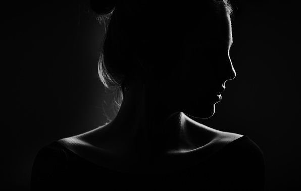 Обои девушка, черный фон, профиль, силуэт картинки на рабочий стол, раздел минимализм - скачать