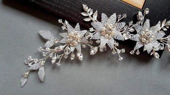 Bridal headpiece wedding hair vine silver vine floral by ZTetyana