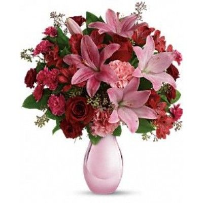 FDH's Roses and Pearls #Bouquet Flowers - She will be delighted when she receives gorgeous array of #Roses, #Lilies and more artistically arranged in a dazzling pink reflections vase.