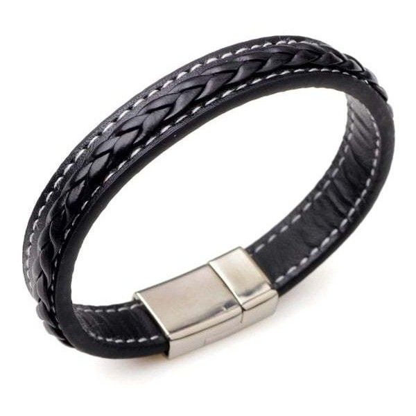 Artificial Leather Braid Titanium Steel Bracelet (€2,75) ❤ liked on Polyvore featuring men's fashion, men's jewelry, men's bracelets, mens woven leather bracelets, mens woven bracelets, mens leather braided bracelets, mens stainless steel bracelets and mens leather bracelets