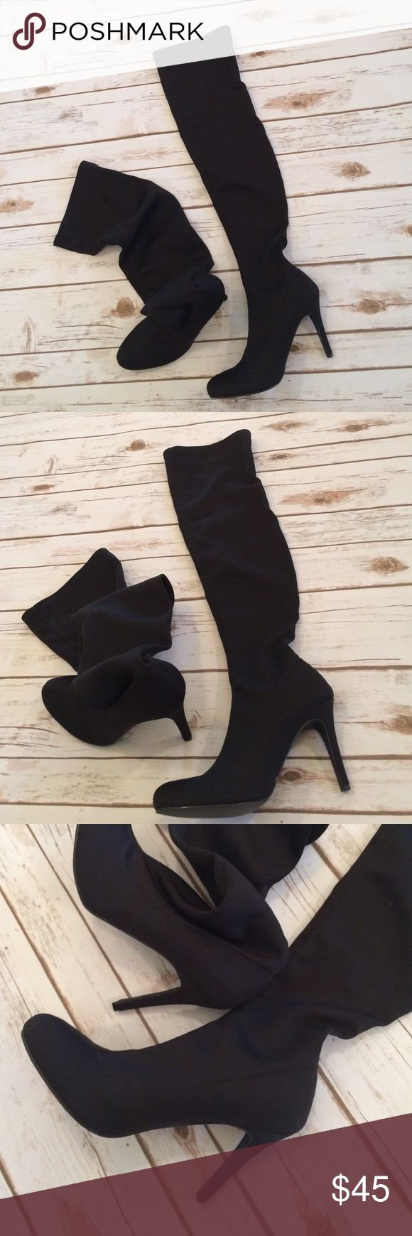NEW Colin Stuart Thigh-high Stretch Boots From the Victoria's Secret catalog, these NEW stretch thigh-high boots are made of a thick Lycra stretch fabric. They are very comfortable and the fabric is very washable. The heels are about 4 inches. Colin Stuart Shoes Over the Knee Boots