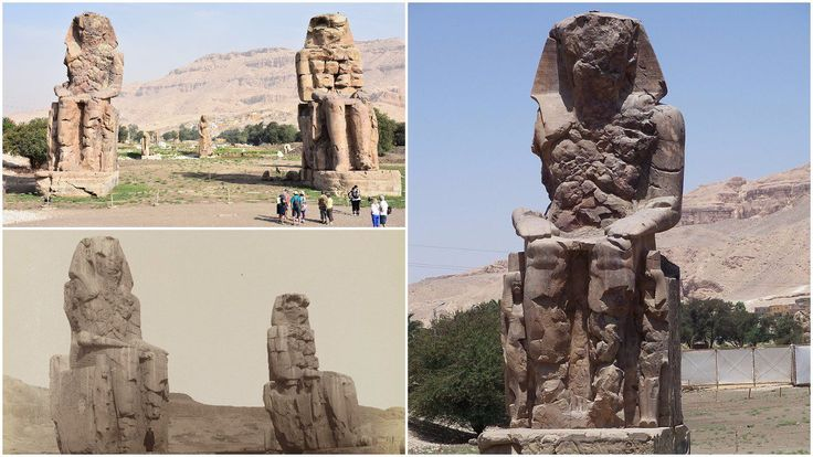 The Colossi of Memnon (known to locals as el-Colossat or es-Salamat) are two massive stone statues of Pharaoh Amenhotep III, who reigned during Dynasty XVI