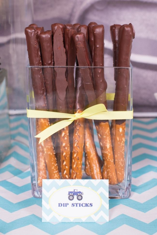 Boy's Monster Truck Birthday Party Food- dip sticks (chocolate dipped pretzel sticks)