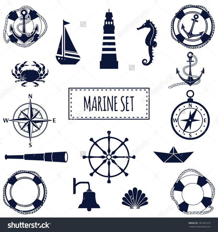 Set Of Flat Marine Elements. Vector Illustration - 181491419 : Shutterstock