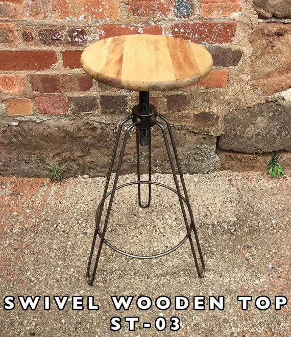 Industrial Metal Amp Wooden Bar Stools Seats Swivel Hairpin