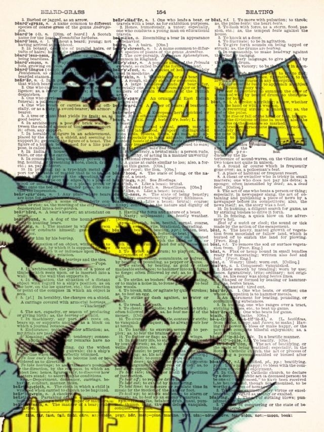 Batman - Buy 2 Get 1 FREE -Vintage Dictionary Print Vintage Book Print Page Art Upcycled Vintage Book Art