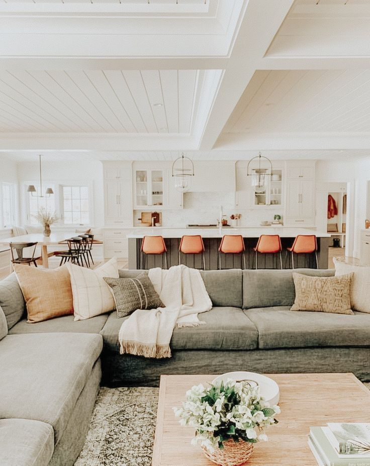 Open Floor Plan Design With Farmhouse Living Room Design Neutral Living Room Design With Farm House Living Room Home Living Room Modern Farmhouse Living Room #open #living #room #design