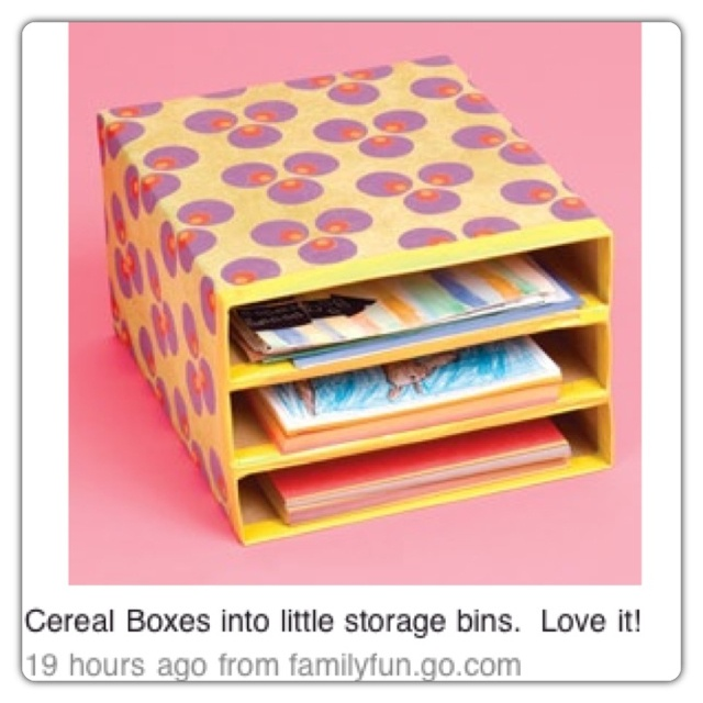 Paint 3 cereal boxes and glue them together for mail for Cereal box organizer