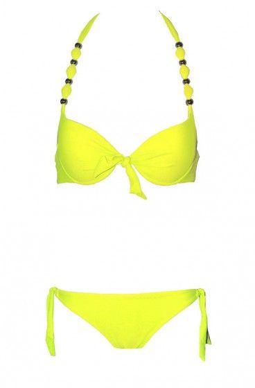 Maillot de bain 2 pièces push up jaune fluo - Mademoiselle Bikini