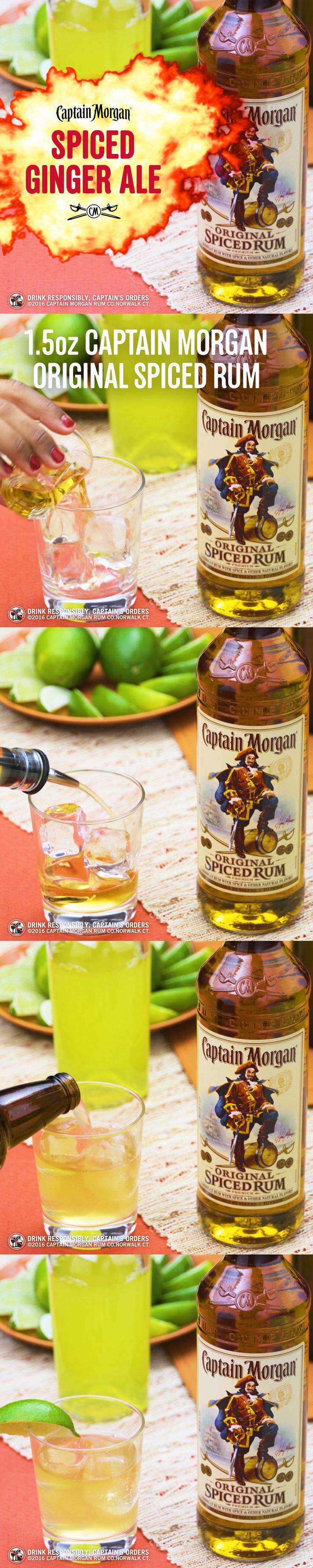 Captain's Spiced Ginger Ale. Best served with falling leaves, open fires and your feet up.  Spiked Ginger Ale Recipe (1 serving): 2 dashes aromatic bitters 1.5 oz Captain Morgan Original Spiced Rum 0.5 oz sour mix 1.5 ginger ale 1 lime wedge Get more rum recipes at https://us.captainmorgan.com/rum-cocktails/?utm_source=pinterest&utm_medium=social&utm_term=holidays&utm_content=spiced_ginger_ale&utm_campaign=recipe