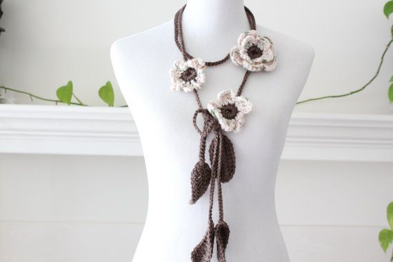 Crochet Lariat Taupe pink Scarf Scarflette Necklace