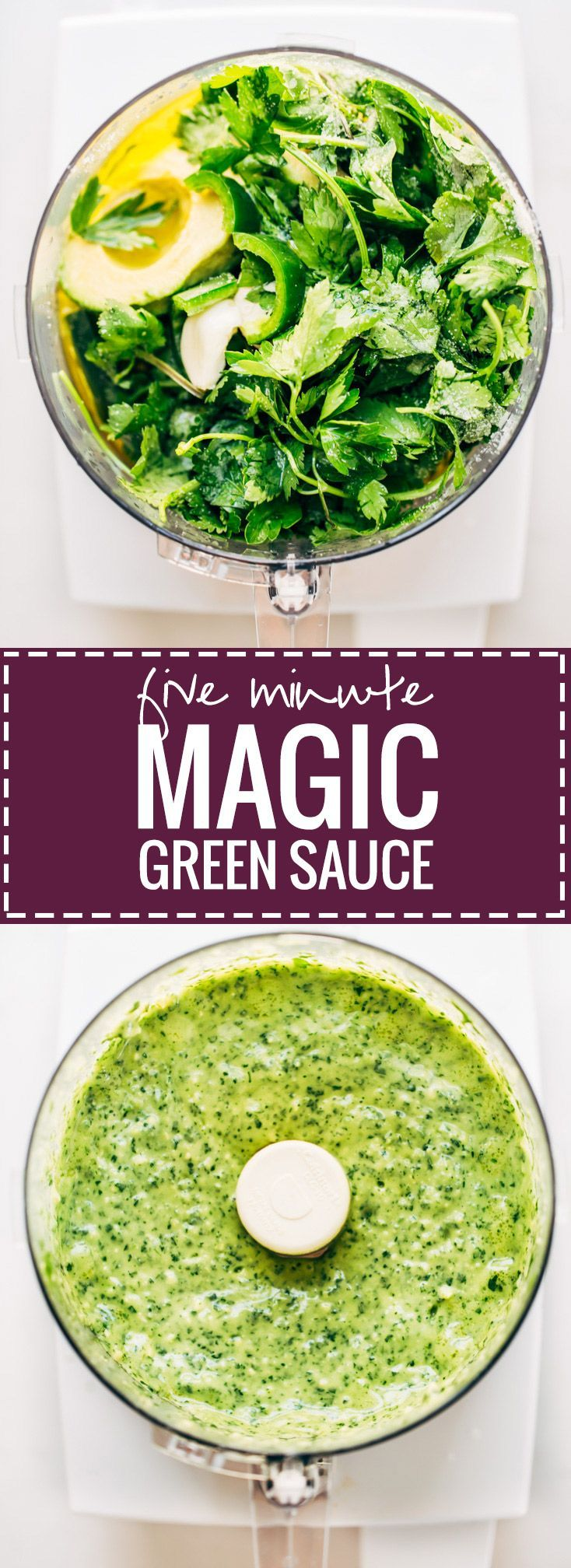 5 Minute Magic Green Sauce - use on salads, with chicken, or just as a dip. Easy ingredients like parsley, cilantro, avocado, garlic, and lime. Vegan.