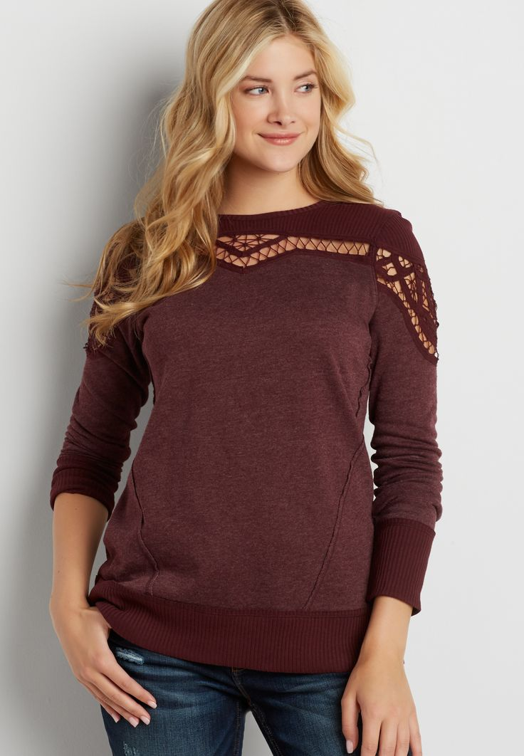 pullover sweatshirt with battenburg lace#wishpinwinsweepstakes #discovermaurices