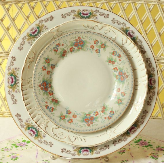 Unmatched Dishes, Dinnerware, Wedding Gift, Shower Gift, Mix Matched Plates, Shabby Chic Wedding, Mismatched Dishes, Quiet Garden    I love the