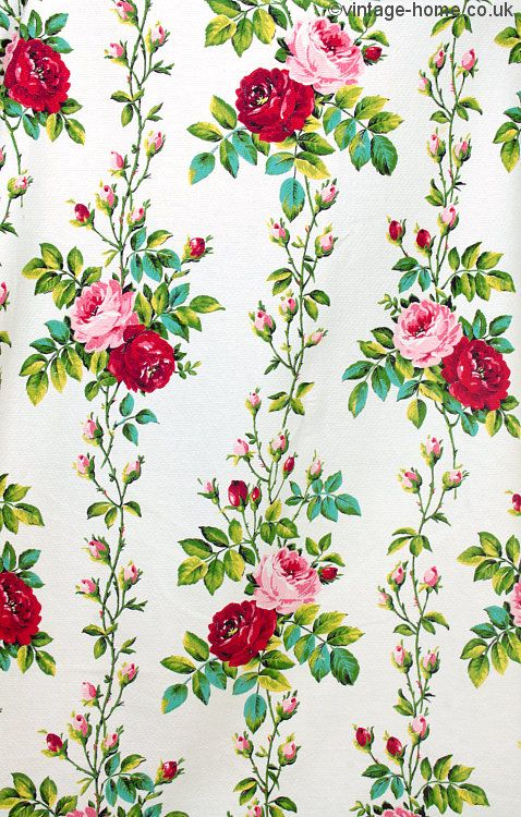 Vintage Home - Roses and Rosebud Barkcloth Fabric.