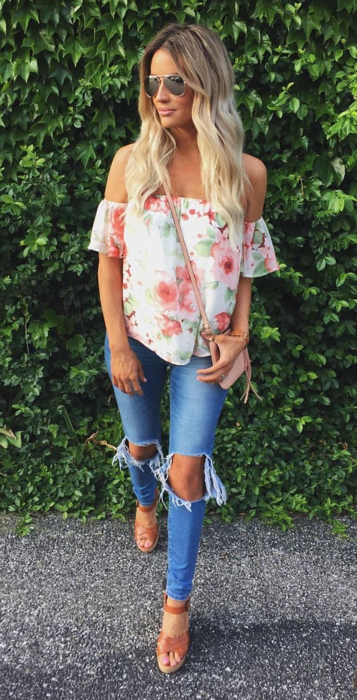 Floral OTS top, ripped jeans, aviators & wedge | fashion | summer | denim | jeans | ripped | floral