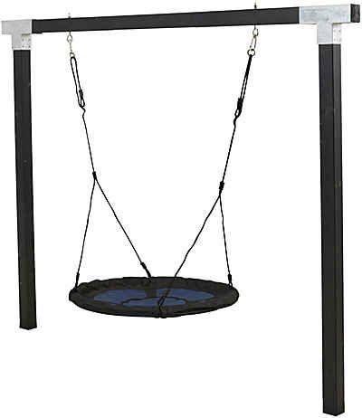 Woodinis-Spielplatz Cubic Schaukelgestell mit Nestschaukel schwarz