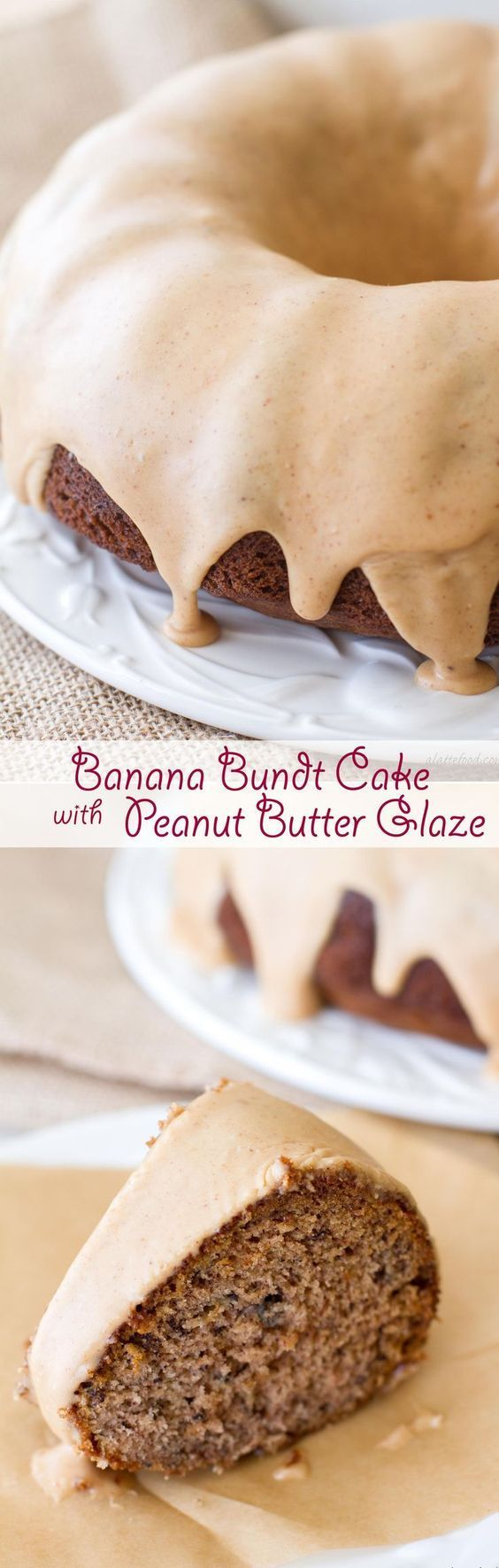This easy banana bundt cake recipe is a cross between a sweet banana bread and a sweet banana cake! Topped with a peanut butter glaze, this cake is sure to be a hit!