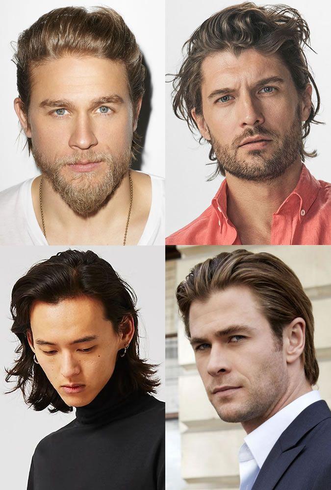 Men long hairstyles slicked back