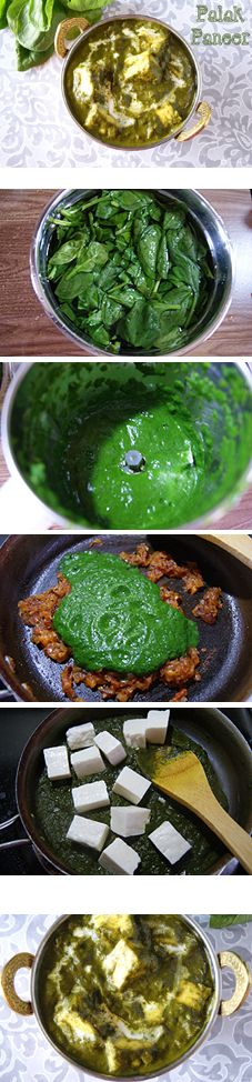 """A healthy, delicious, bright n vibrant Indian gravy. """"Palak Paneer"""" (Indian Cottage Cheese in Spinach Gravy). Vegans can easily substitute Tofu instead of paneer."""