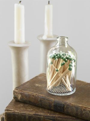 Store matches in a reclaimed apothecary jar with a hand-etched bottom for striking. #diy #crafts