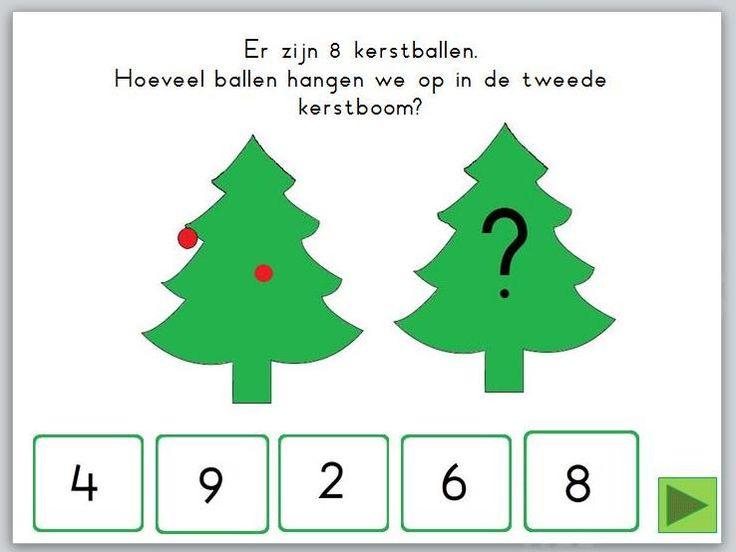 In deze digibordles kerst: splitsen heeft de leerling 8 kerstballen die hij over 2 kerstbomen moet verdelen.