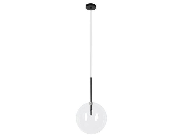 Aksel 1 Light 250mm Pendant in Black/Clear