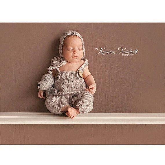 Newborn photo prop newborn pants with suspenders от kidsphotoprops