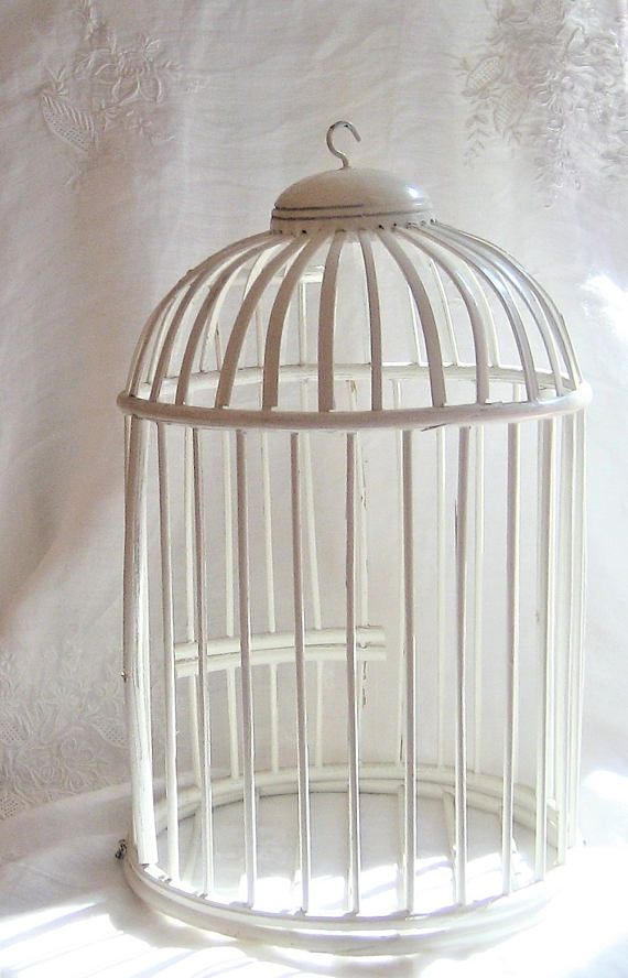 Wedding Bird Cage White Wooden Top Hook For Hanging Opening