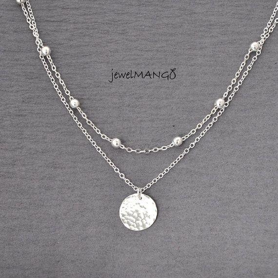 Fine Jewelry Sterling Silver Layered Bead Necklace JWRRyiLn5