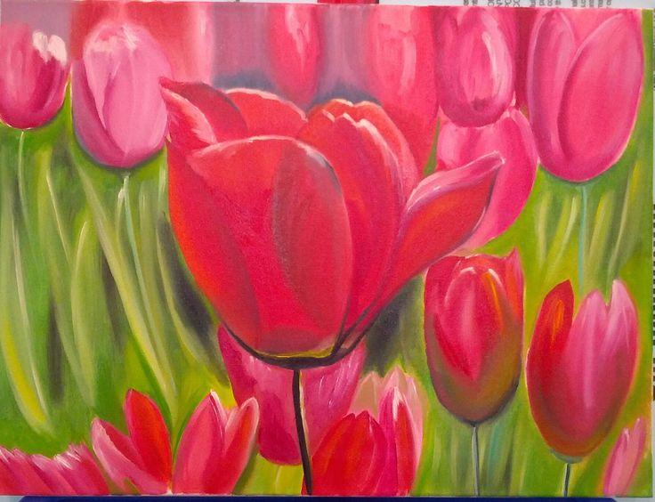 "Tulips. Original Oil Painting on Canvas. 18"" x 24"". 46 x 61 cm."