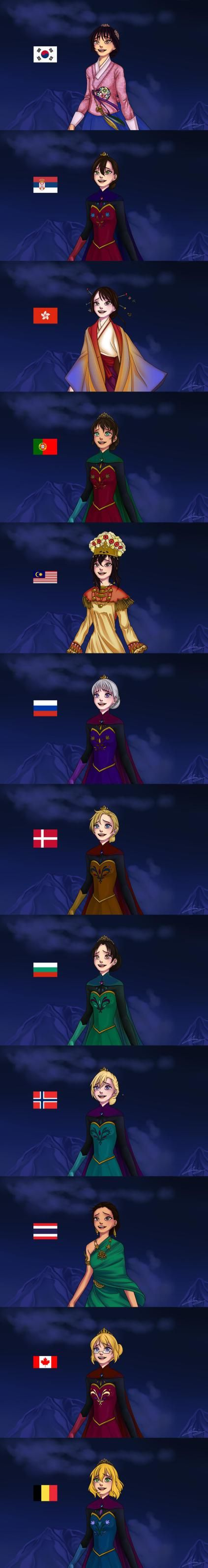 most people thin this is Elsa with different ethnic groups but it's Elsa mixed with hetalia girls