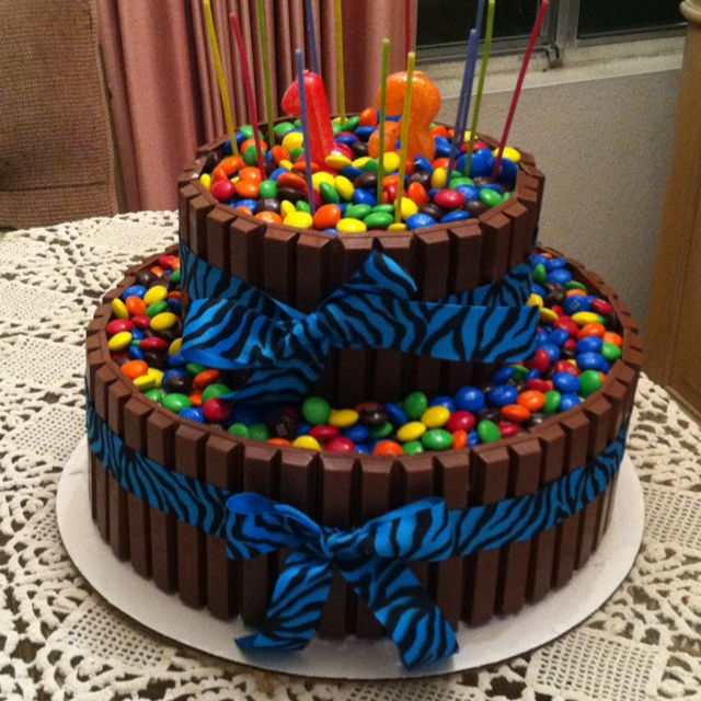Kit Kat and M&M birthday cake