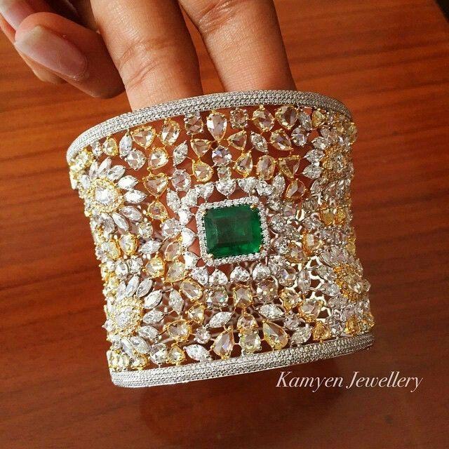 Diamond and emerald cuff