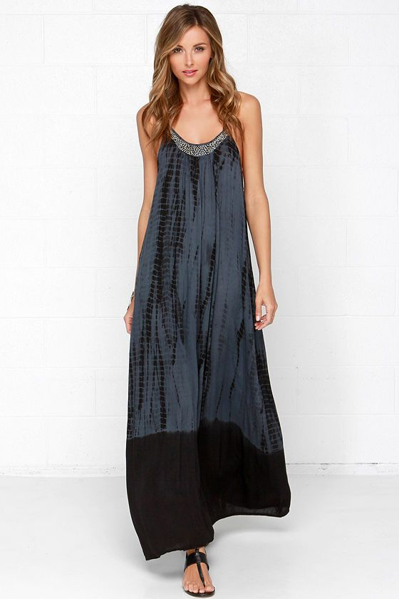 beaded tie-dye maxi dress