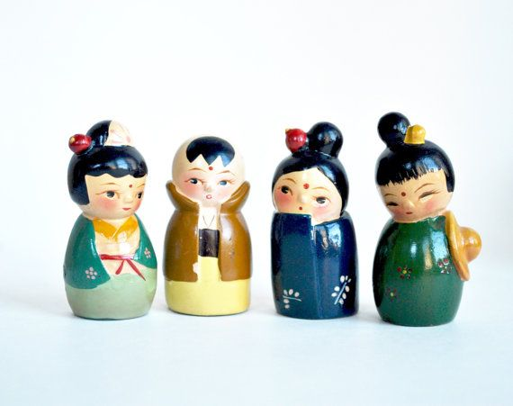 4 pencil sharpener toy figures china doll by daisychainvintage